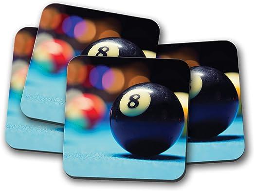Juego de 4 posavasos de Lucky 8 Ball – Bolas de billar Snooker Pub Sports Bar Fun Gift #16449: Amazon.es: Hogar