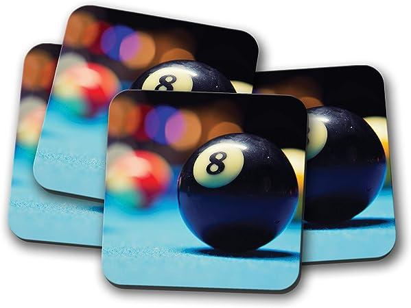 Juego de 4 posavasos de Lucky 8 Ball – Bolas de billar Snooker Pub ...
