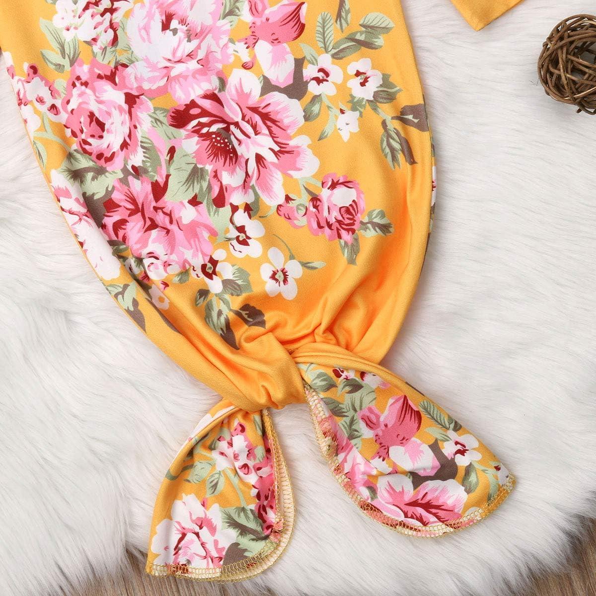 AndPannDy Newborn Baby Boys Girls Cotton Sleeping Robe Nightgowns Sleepwear Romper Sleep Gowns+Hat//Headband 0-6M