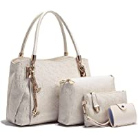 Tibes Stylish Faux Leather Top Handle Purse 4pcs set Satchel Girls Women Handbag