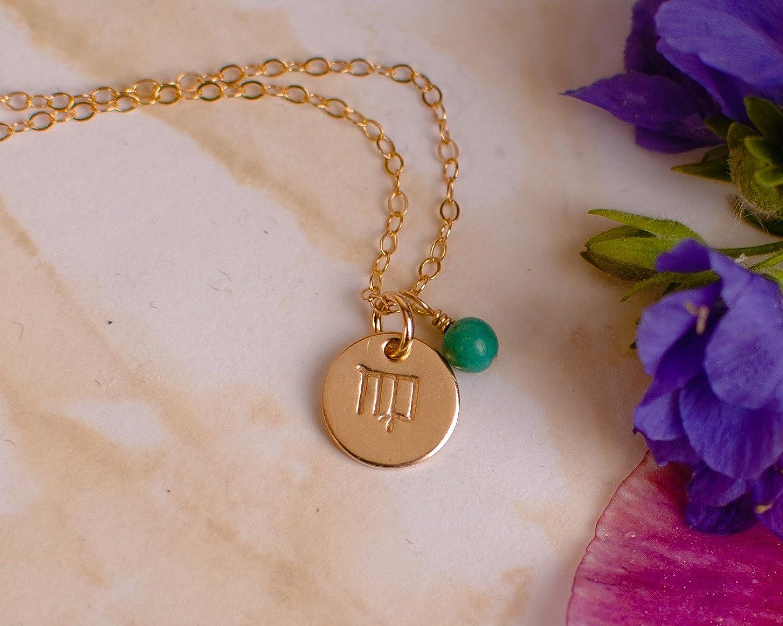 Amazon.com: Virgo Necklace - Tiny Gold Filled Simple Zodiac Sign ...