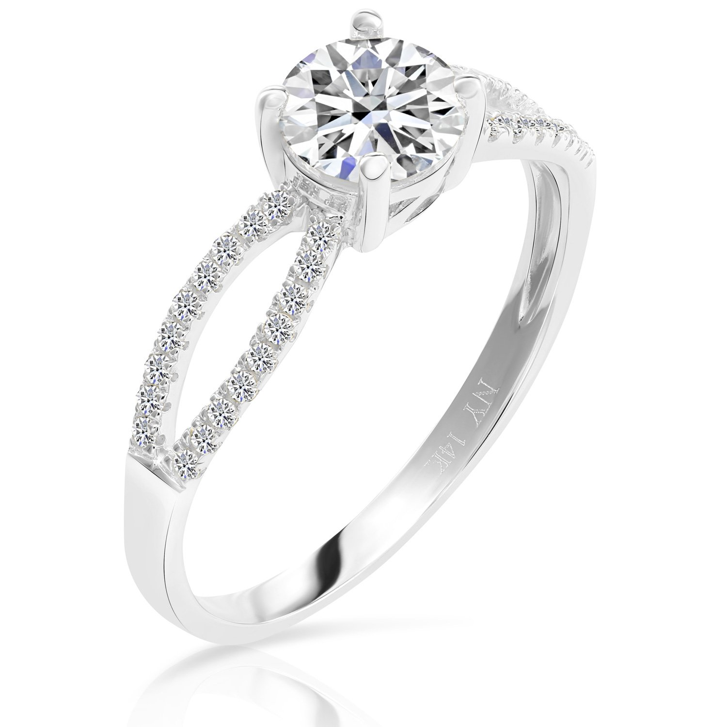 14k Gold Cubic Zirconia Engagement Ring (white-gold, 6) by Tilo Jewelry