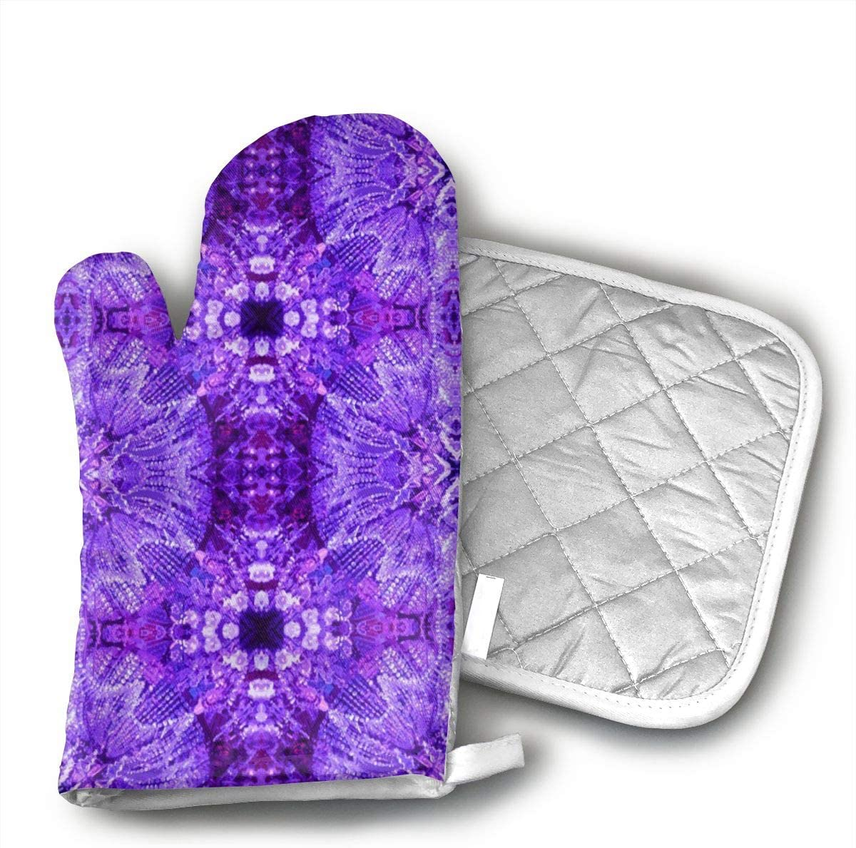 VFSFJKBG Glows in The Dark - Purple Oven Gloves, High Heat Resistance, Machine Washable High Heat Resistant Polyester Filling for Thanks Giving, Christmas