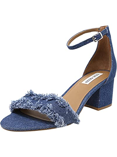61ab281d574 Steve Madden Womens Irenee Denim Ankle Strap Dress Sandals 5 Medium (B