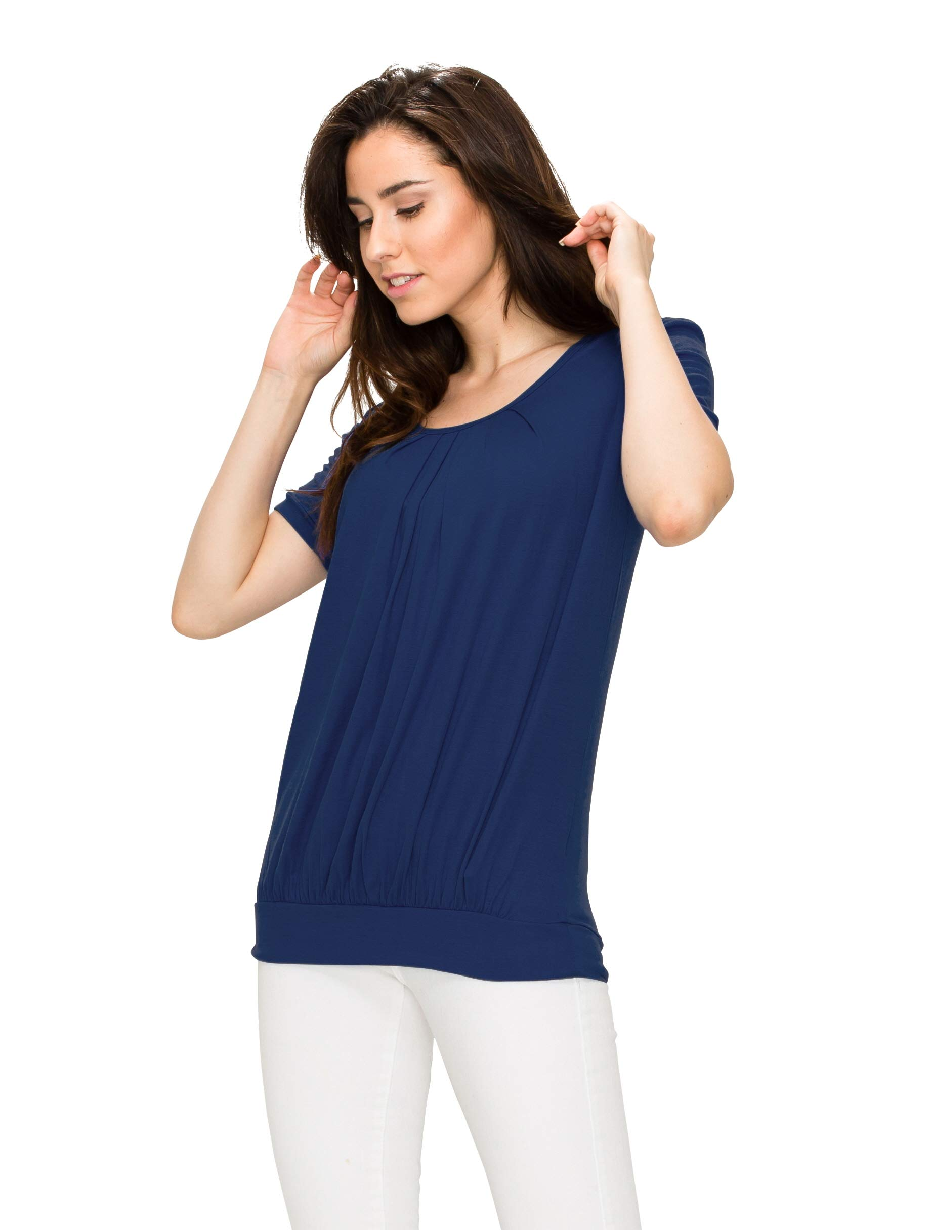 Made By Johnny WT1175 Womens Scoop Neck Short Sleeve Front Pleated Tunic S Navy by Made By Johnny (Image #4)