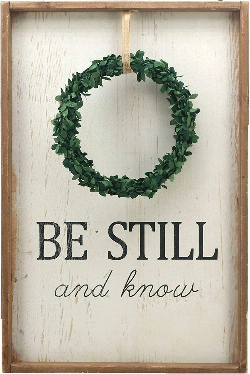 Parisloft Be Still and Know Wood Wall Hanging Signs with Wreath|Wooden Framed Farmhouse Plaque for Office,Home,Kitchen,Theme Room, 15.75x23.6 inches