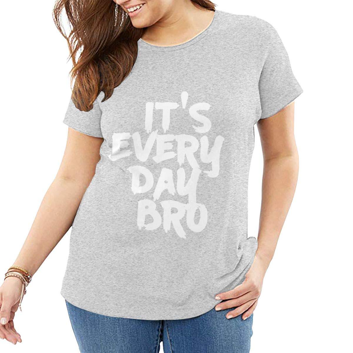 Fat Women's T Shirt Jake Paul It's Every Day BRO Tee Shirts T-Shirt Short-Sleeve Round Neck Tshirt for Women Girls Gray 3XL by BKashy