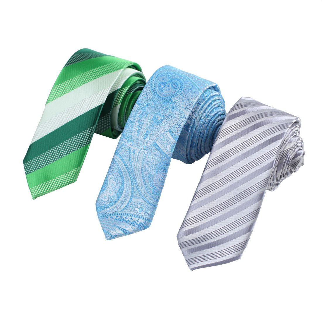 EAFF0040 Design Series Silk Men's Slim Ties Striped For Wedding Set Of 3 Skinny Ties By Epoint
