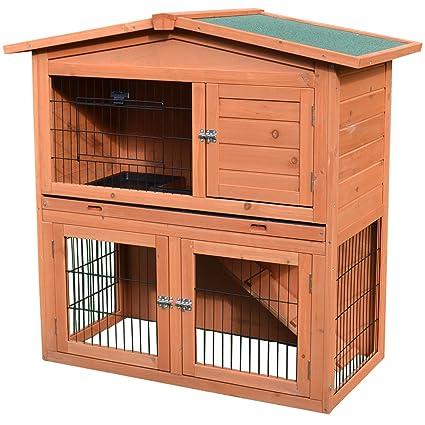 Amazon Com Pawhut 40 Wooden Rabbit Hutch Small Animal House Pet