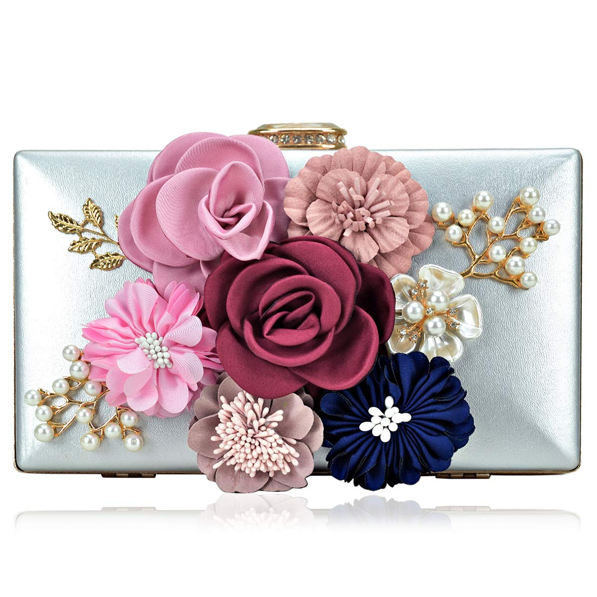 Women Flower Clutches Handbags Evening Bags Prom Party Wedding Cocktail Clutch Purses with Pearls Beaded