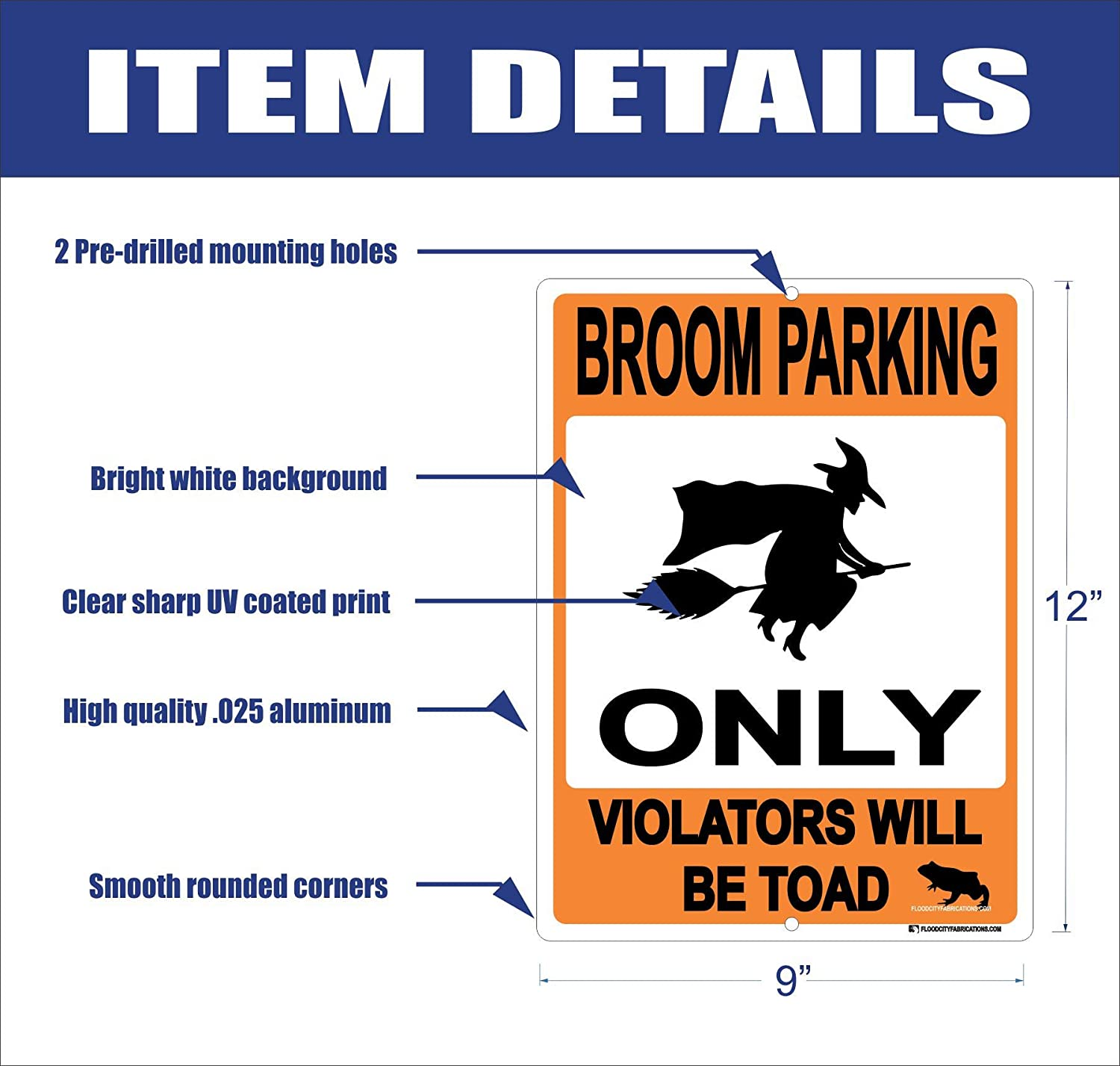 Amazon Com Broom Parking Only All Others Will Be Toad Halloween 9x12 Metal Aluminum Sign Decoration Tick Or Treat Witches Witch Funny