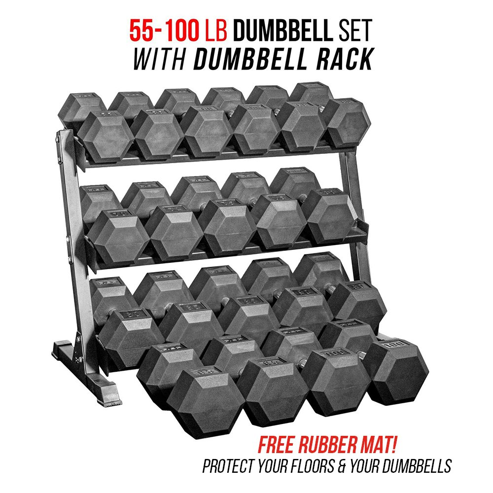 Rep 55-100 lb Rubber Hex Dumbbell Set with 1 Rack and Free Rubber Mat