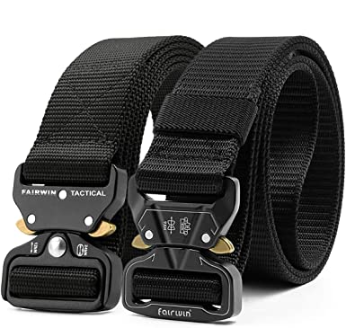 Lishfun Military Equipment Tactical Belt Man Double Ring Buckle Thick Canvas Belt Mens Belt mu035 135cm Black