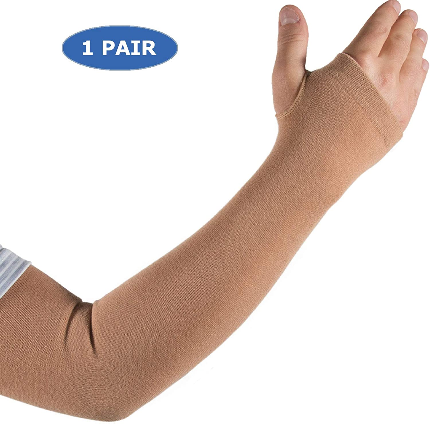 Skin Protection Arm Sleeves for Men & Women | Protect Sensitive Arm and Hand Skin Against Tears, Bruising and Sun Exposure (Available in 4 Sizes and 1, 2 & 12 Pair Packs) 71QnHnUn6kL