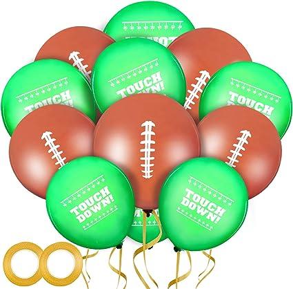 60PiecesFootballBalloonsFootballFieldLatexBalloonsFootball Party Balloons and2RollsGoldBalloonsRibbonforSuperbowlTailgateGameDayFootballThemeSupplies Birthday Party Decorations