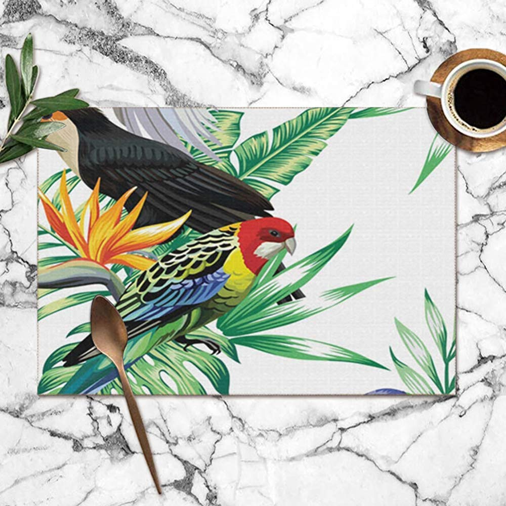 yyndw Place Mats Animales Tropicales Aves Loro Maccaw Tucán Fauna ...