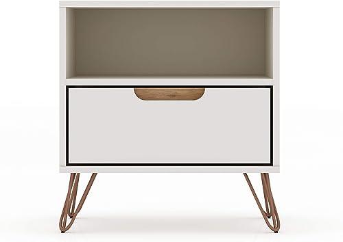 Manhattan Comfort Rockefeller Mid-Century Modern 1 Drawer Bedroom Nightstand