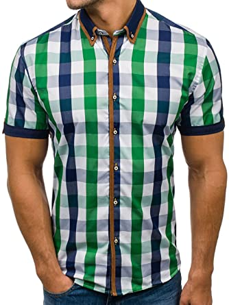 BOLF 5507-1 Grün M  2B2  Kurzarm Herrenhemd Hemd Figurbetont Freizeit Slim  Fit 2138e84cc3
