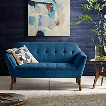 Ink Ivy Newport Accent Armchair Solid Wood Frame Flare Arm Family Loveseat Settee Modern Mid Century Style Living Room Sofa Furniture 59 Wide Blue Furniture Decor
