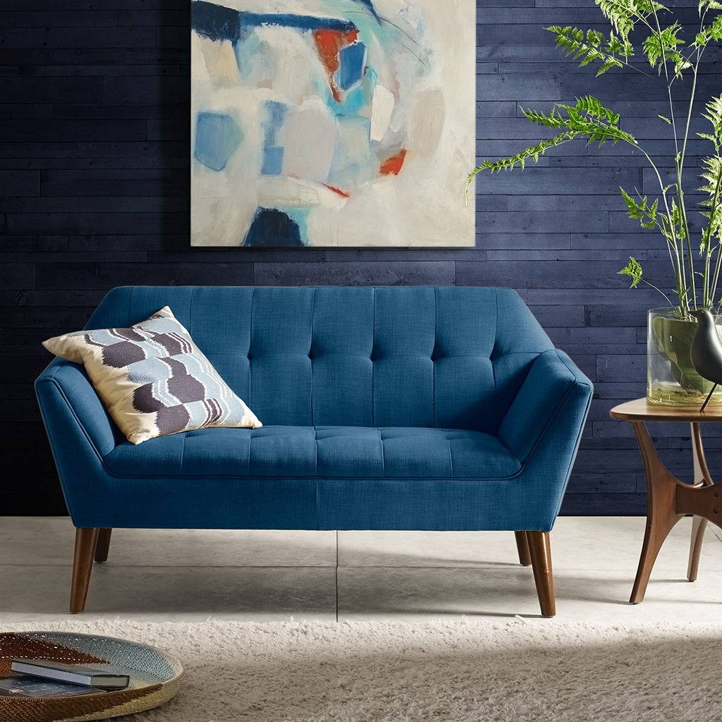 """INK+IVY Newport Accent Armchair-Solid Wood Frame, Flare Arm Family Loveseat Settee Modern Mid-Century Style Living Room Sofa Furniture, 59"""" Wide, Blue"""