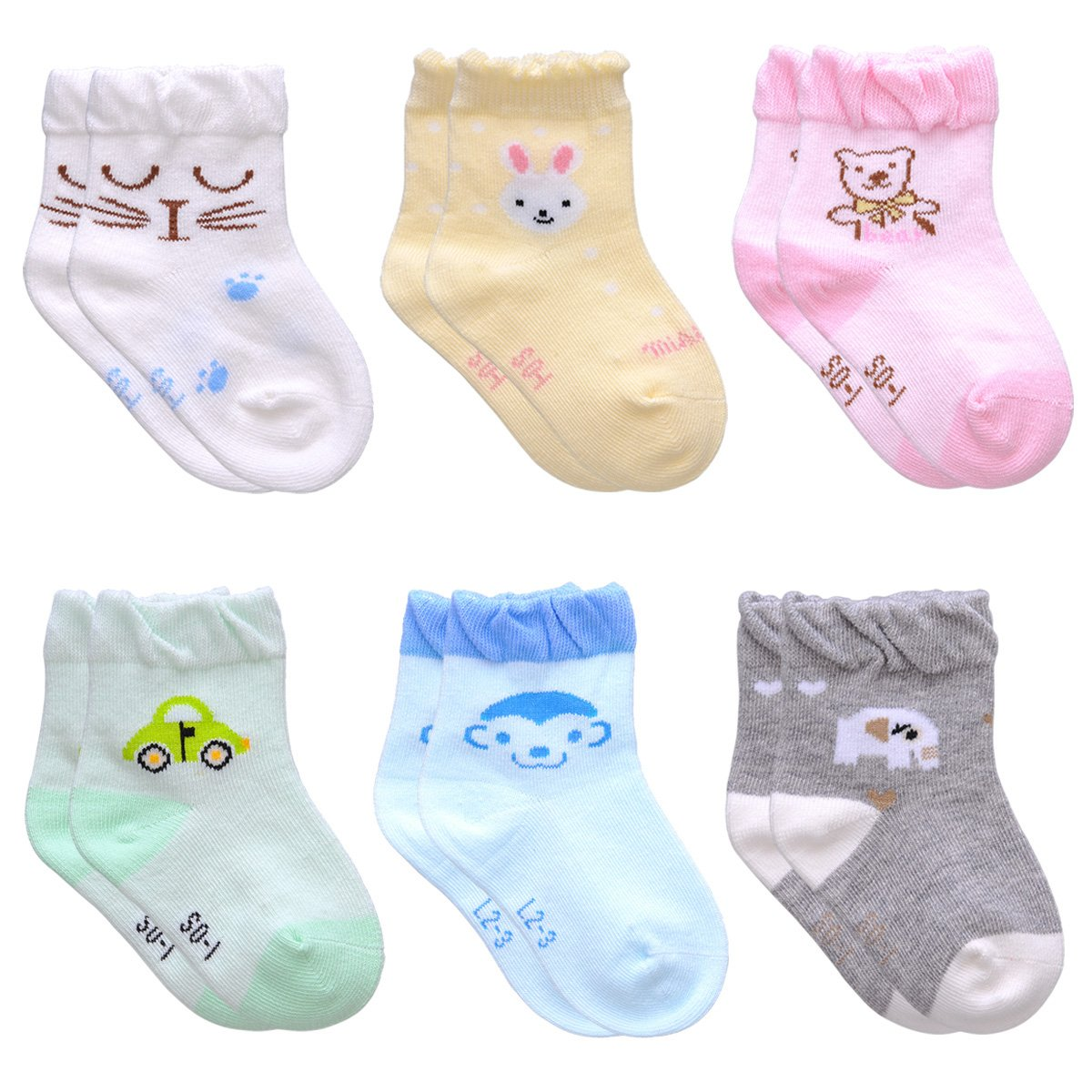 Kids Baby Toddler Socks Non-Skid Handmade Cotton Crew Walkers Unisex EZ