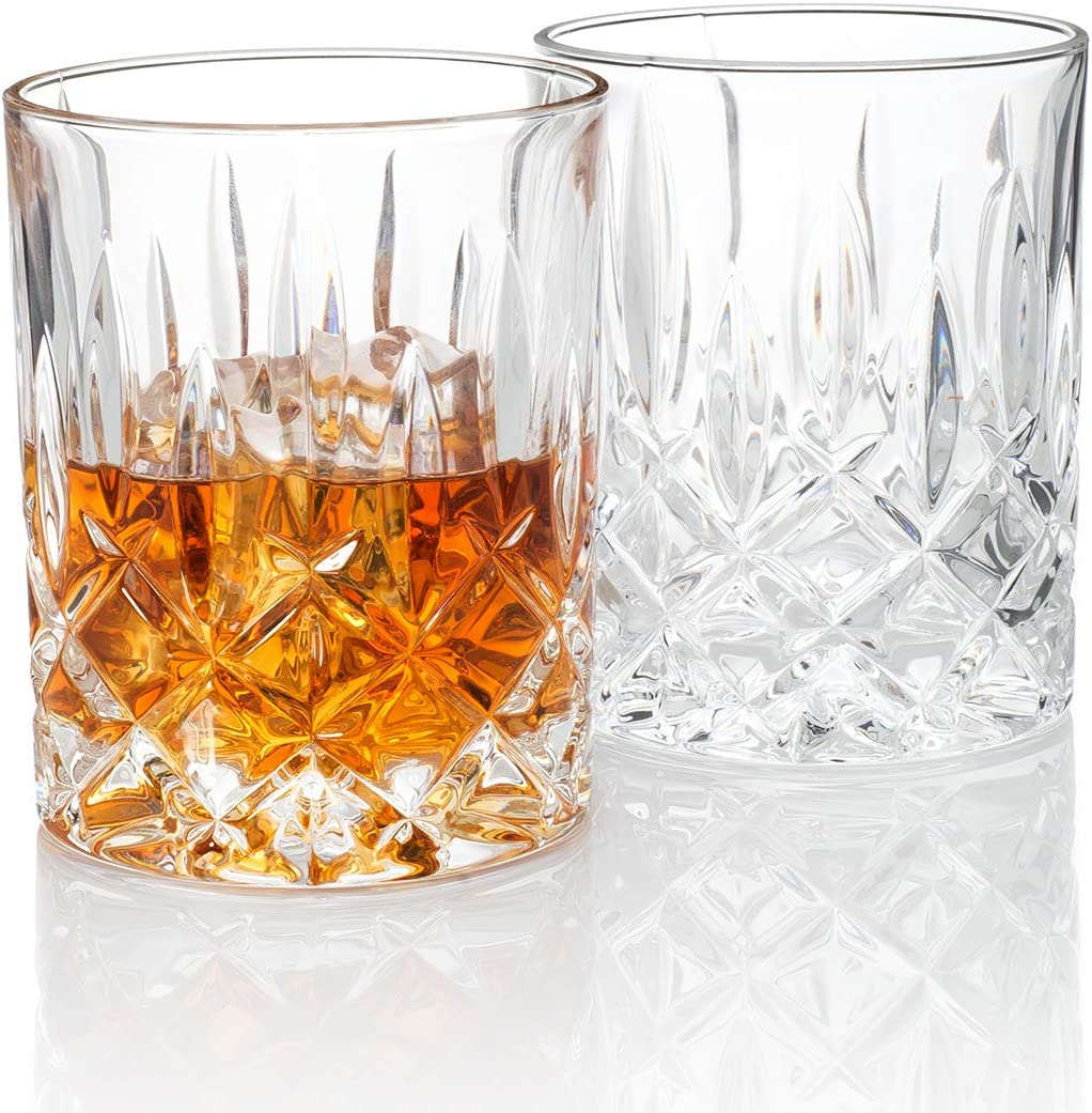 Amazon Com Hotel Astor Men S Bar Crystal Whiskey Glass Gift Box Set Of 2 Old Fashioned Glasses