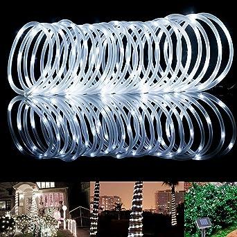 100 LED Seil Lichter - Solarenergie Draussen wasserdicht 33ft Kupfer ...