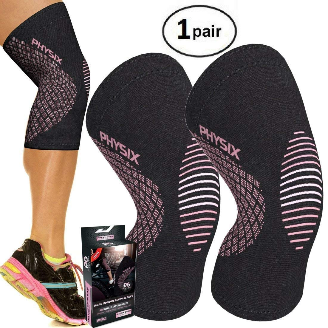 PHYSIX GEAR SPORT Knee Support Brace - Premium Recovery & Compression Sleeve For Meniscus Tear, ACL, Running & Arthritis - Best Neoprene Wrap for Crossfit, Squats & Heavy Duty Workouts (1 PAIR Pink S)