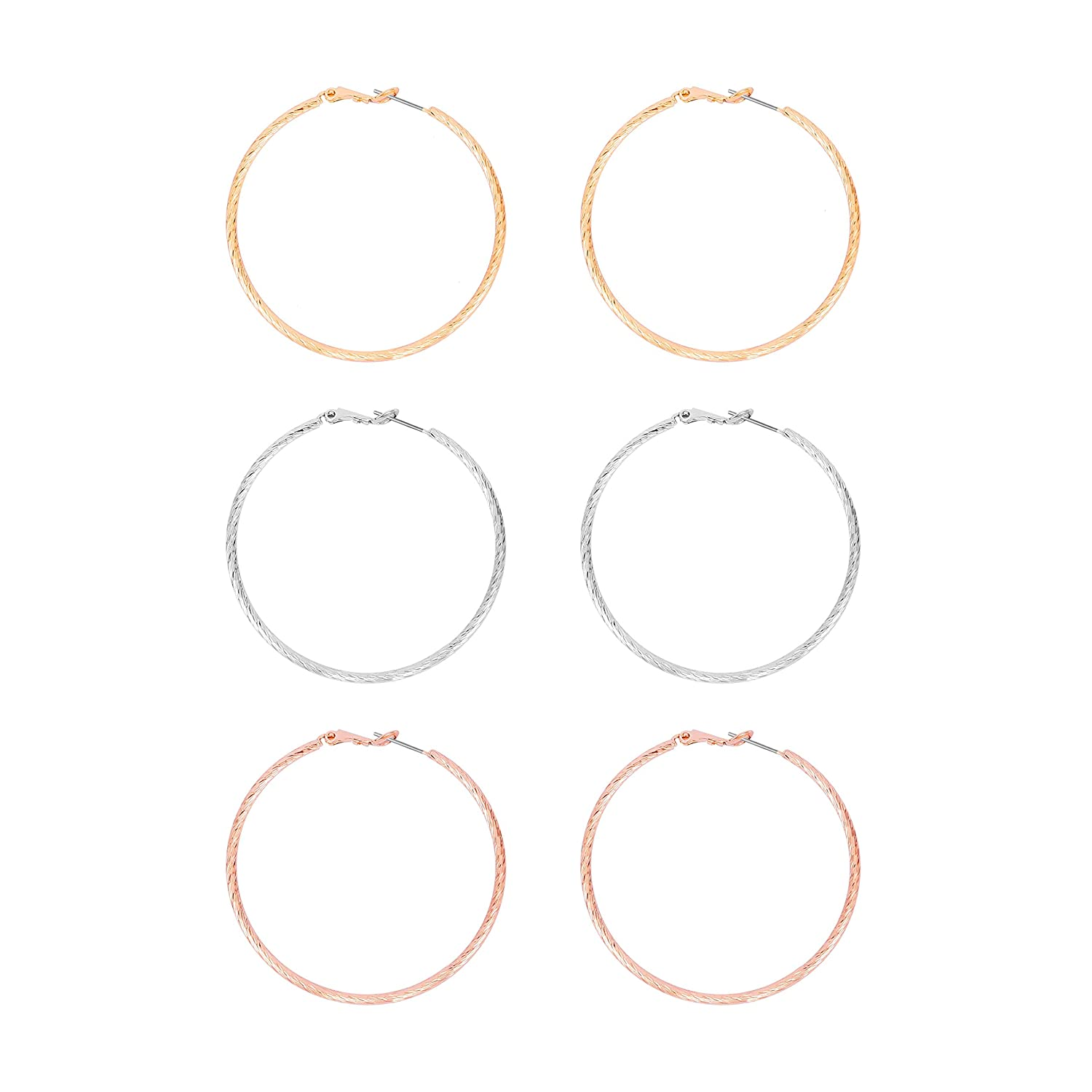 MOOCHI 3 Pairs Big Twisted Hoop Circle Earrings Gold Plated Copper Rose Gold Platedr Silver Plated Hoop Earrings for Women Girls Sensitive Ears