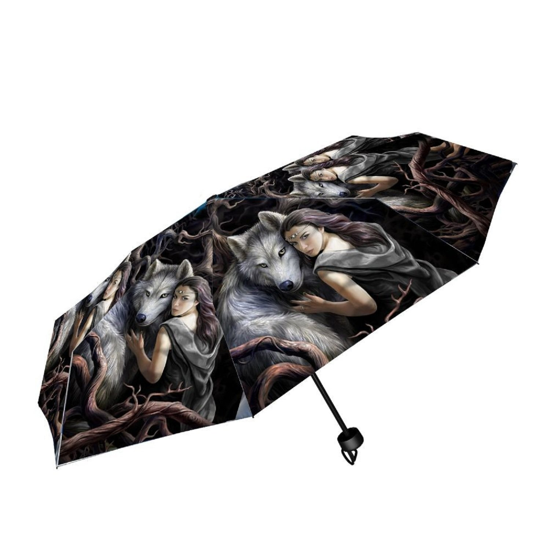 Nemesis Now - Soul Bond Woman & Wolf Umbrella by Anne Stokes