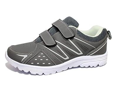 SUPERUN Herren Sneakers Kinder Turnschuhe Damen Sportschuhe Klettschuhe  41-46 Grau 36 e520a0806e
