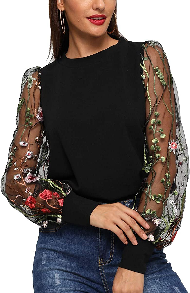 ROMWE Women's Embroidered Floral Mesh Bishop Sleeve Loose Casual Blouse Top