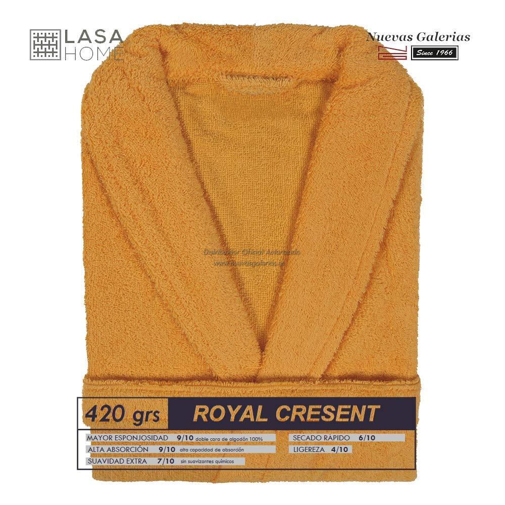 Lasa Royal Cresent Albornoz Rizo de algodón con Cuello Tipo Smoking, Talla M, Color Sunset 3335: Amazon.es: Hogar