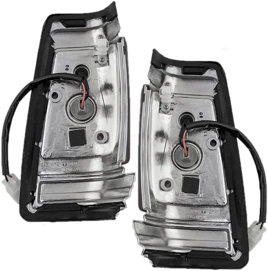 Driver and Passenger Signal Corner Marker Lights Lamps Dark Grey Bezel Chrome Trim Compatible with 83-86 Pickup Truck 2618510W00 2618010W00