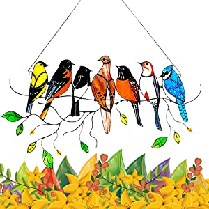 Multicolor Birds Stained Glass Window Hangings, Sun Catcher Outdoor Home Garden Decoration Twist, Acrylic Cute Hummingbirds on a Wire Window Panel Gift for Bird Lovers-7 Birds