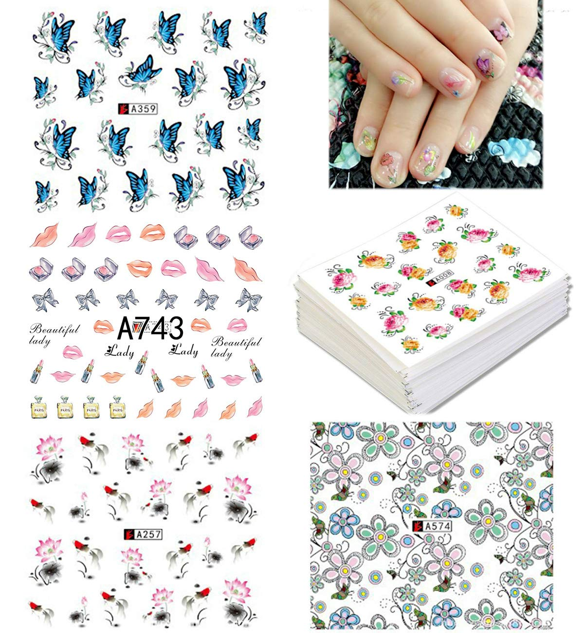 50 Sheets Nail Stickers,Nail Art Water Transfer Sticker Decal-butterfly, flower, heart,DIY Easy Nail Art Set for Finger or Toe Chic Decals,(different patterns)