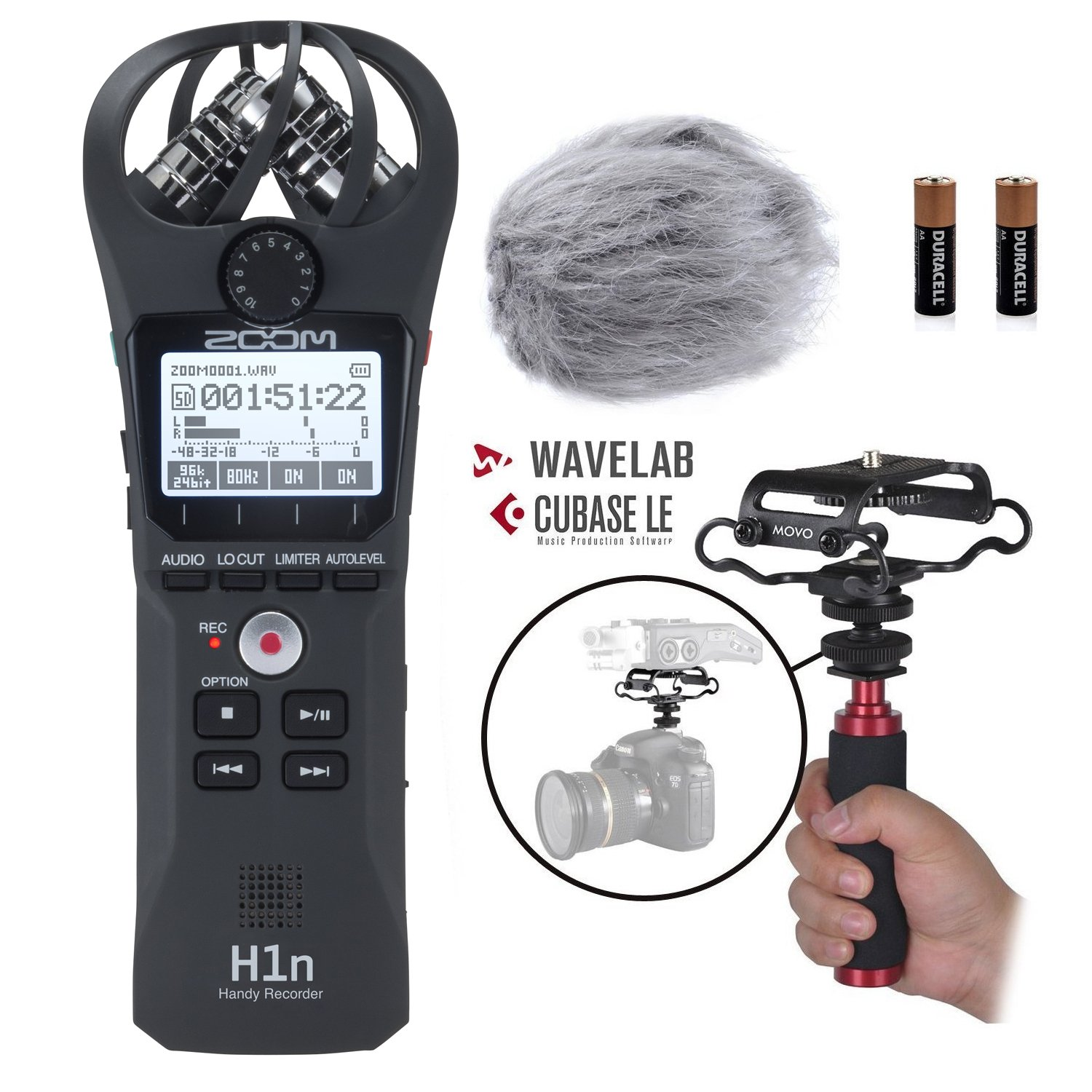 Zoom H1n Handy Portable Digital Recorder Kit with Deadcat Windscreen, Shockmount, Camera Mount and Mic Grip Movo MZK-H1n