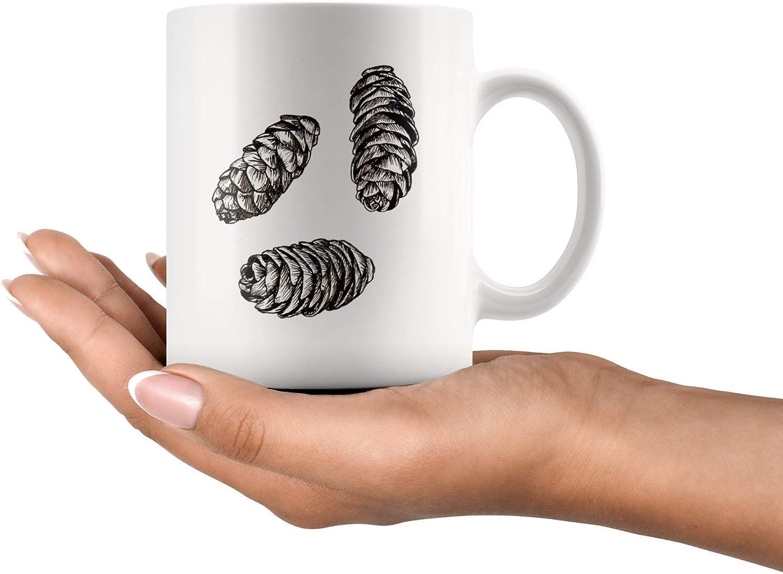 Betsy34Sophia Gebirgshemlock-Kegel-Kaffeetasse-Schwarzzweiss-Handillustriertes Pinecone-Keramik-Schalen-botanisches Illustrations-Geschenk