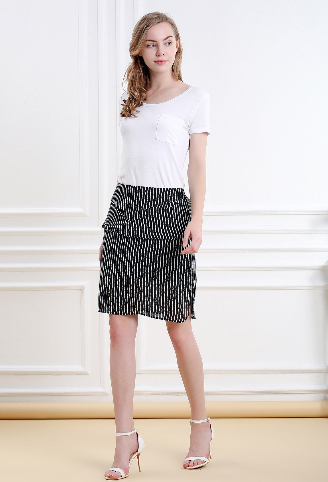 Women Striped Split Mini Skirt Crossed Front Casual A-line Skirt with Zipper XL by Vero Viva (Image #4)