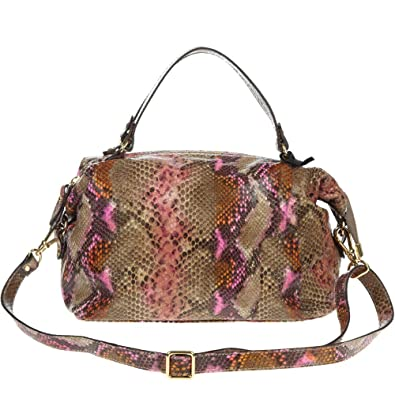 6dc9789432 Amazon.com  CAROL J. Italian Made Snake Python Embossed Small Leather  Satchel Bag  Shoes
