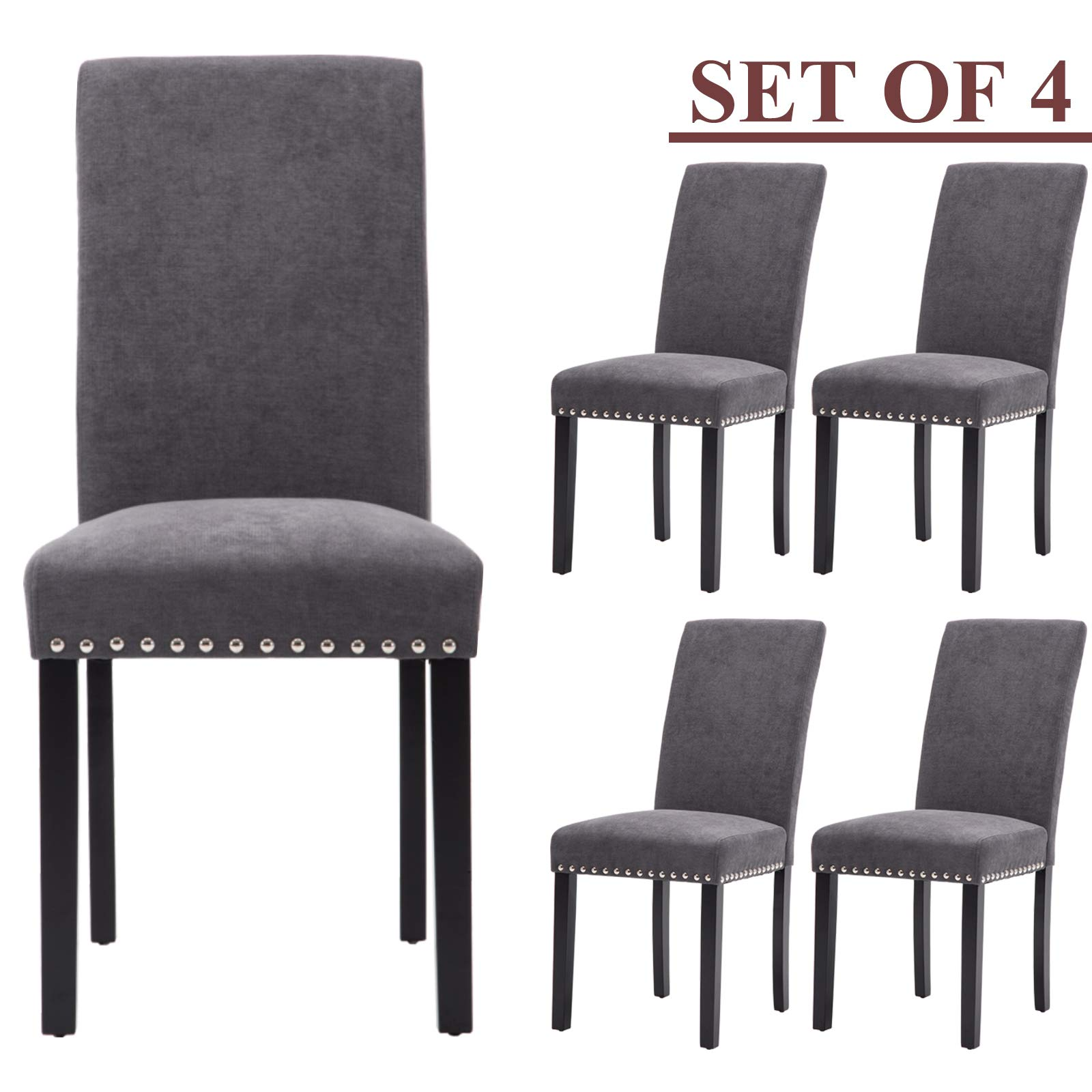 Upholstered Dining Chairs Padded Parson Chair with Silver Nails and Solid Wood Legs Set of 4 (Gray) by GOTMINSI