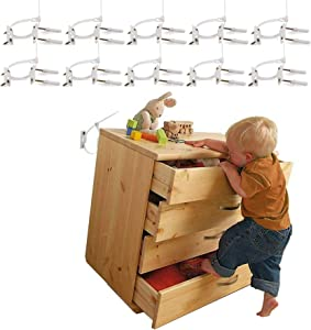 Baby furniture straps,Baodanfirst Proofing Anti Tip Furniture Anchors Kit, Cabinet Wall Anchors Protect Toddler Pet for Falling Furniture, Adjustable Child Proofing Safety Nylon Straps (10 Pack)