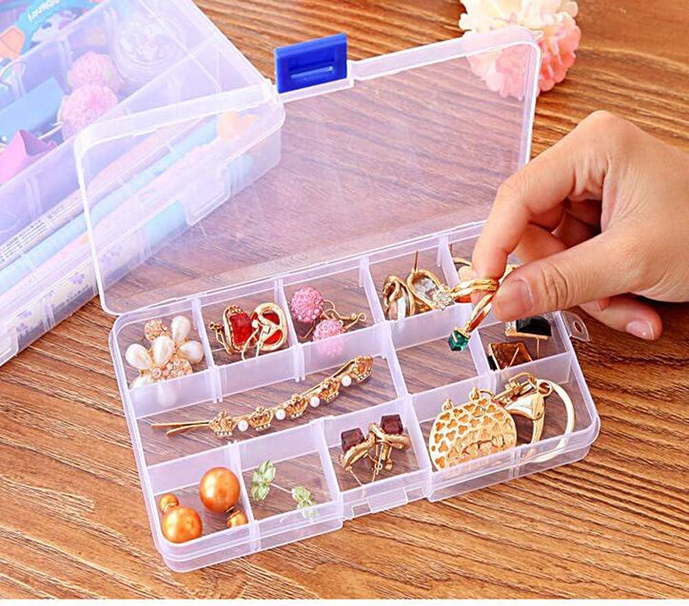 joyer/ía Powertool Caja de almacenamiento de pl/ástico transparente para pendientes 15 cuadr/ículas cuentas y accesorios peque/ños