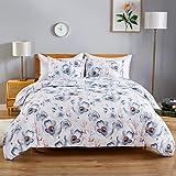 WARMDERN Duvet Cover Set Blue Floral Microfiber Bedding Set Ultra Soft Duvet Cover Set with Zipper Closure & Ties Corner…