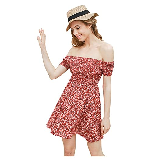 TOOGOO(R) Summer Dress New Fashion Short Sleeve Floral Dress Sexy Off Shoulder Beach