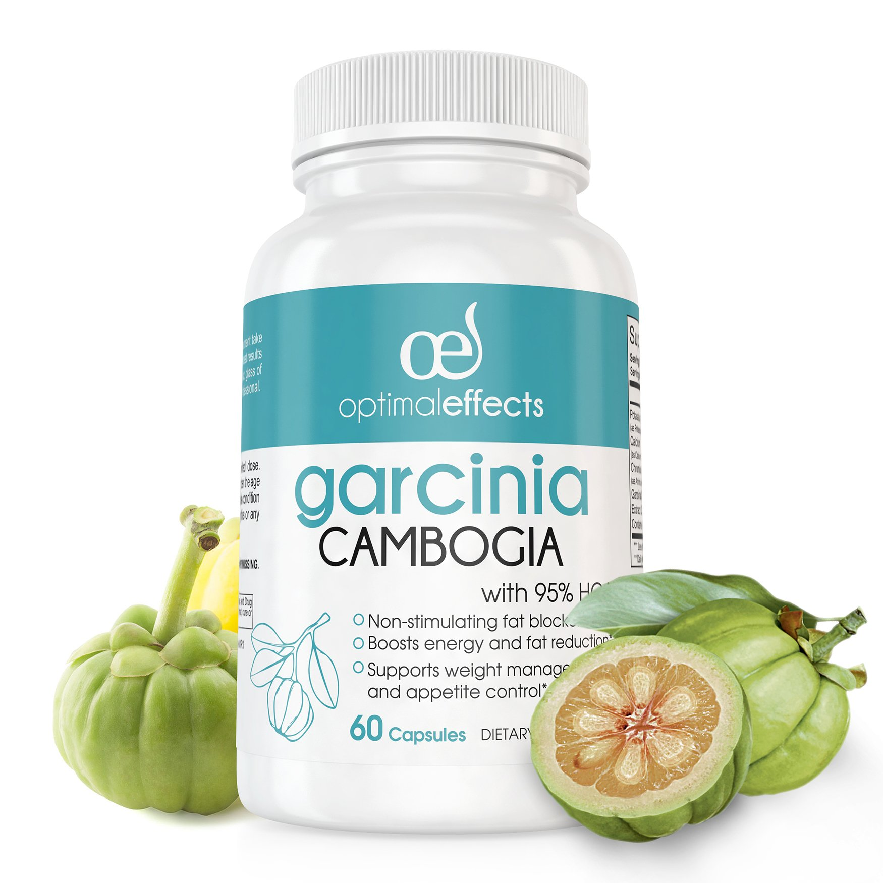 95% HCA Pure Garcinia Cambogia Extract by Optimal Effects - Extreme Carb Blocker with Fast Acting Appetite Suppression & Fat Burner Supplement - 60 Veggie Capsules (1)