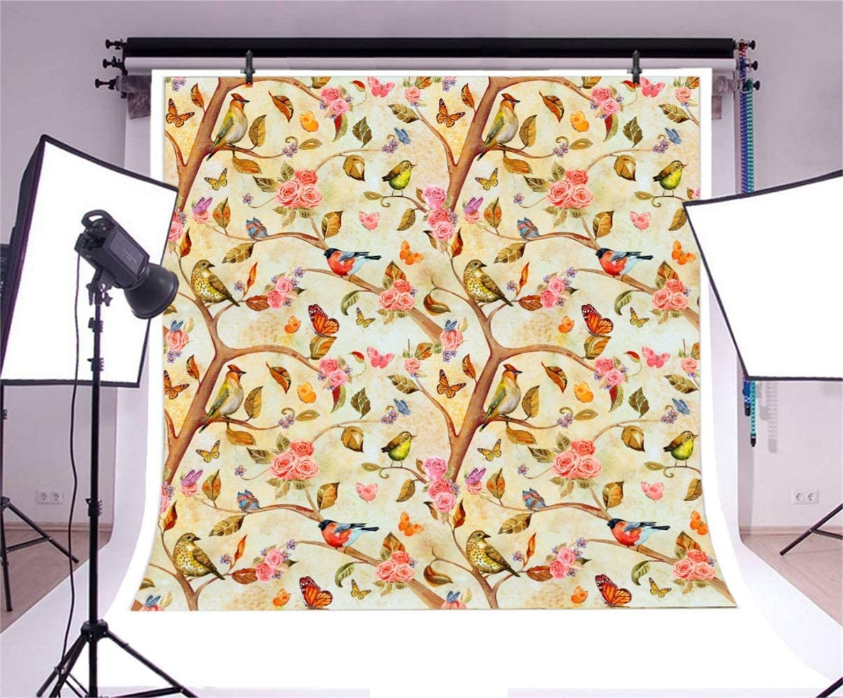 7x7ft Graceful Blooming Tree Branches Flowers Birds Illustration Polyester Photography Background Scenic Backdrop Portrait Shoot Birthday Banner Wallpaper YouTube Background