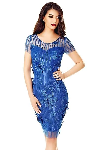 Miss Grey Mujer Elegante Vestido De Fiesta Encaje Bordado Floral Mangas Cortas Ajustado Midi Azul Medium