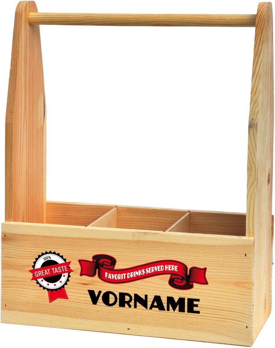 Cera /& Toys/® Getr/änketr/äger aus Holz f/ür 3 Flaschen mit Aufdruck des Namens