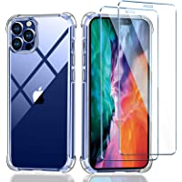 ivencase Funda iPhone 12 + 2 x Cristal Protector de pantalla , Transparente TPU Silicona [Funda + Vidrio Templado] Ultra…